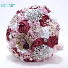 BRITNRY High Quality Crystal Luxury Wedding Bouquet Pink Burgundy Satin Rose Flower Bouquet Elegant Wedding Accessories