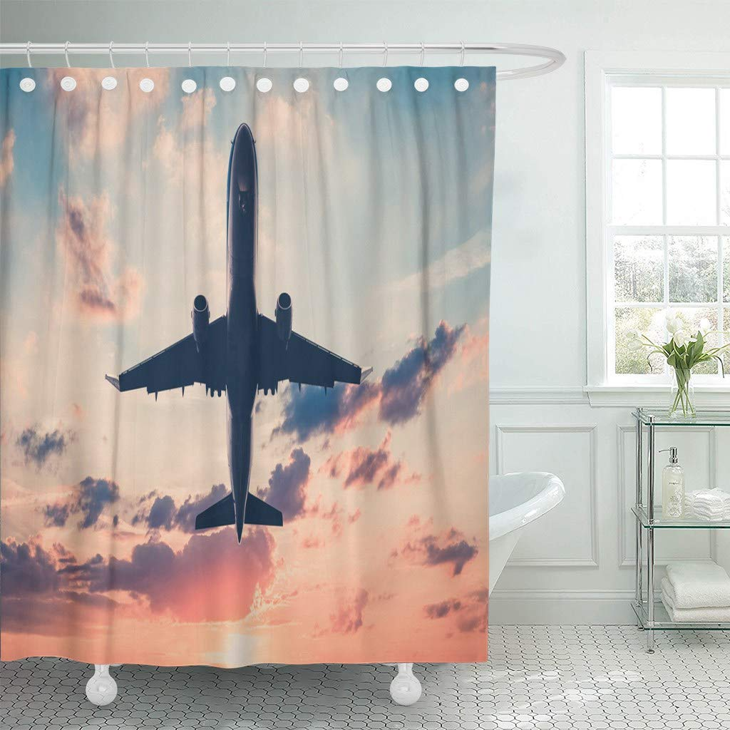Emvency Fabric Shower Curtain With Hooks Colorful Commercial Airplane On Sunset Sky Aircraft Jet Scenic Orange Plane