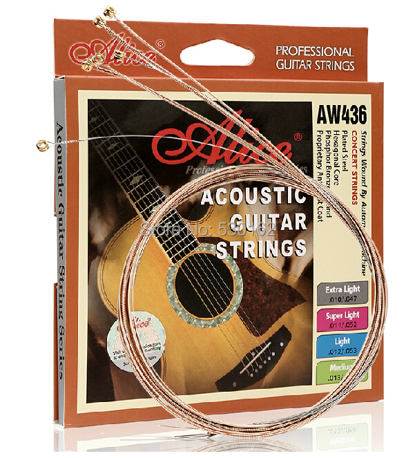 Alice AW436 accoustic phosphor bronze guitar strings AW436SL alice ac139 classical guitar strings titanium nylon silver plated 85 15 bronze wound 028 0285 inch normal and hard tension