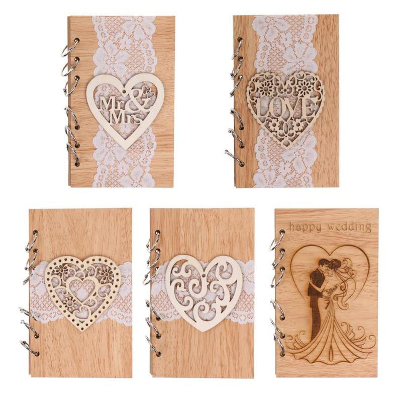 Wedding Signature Guest Books Wooden Retro Hollow Lace Notebook Name Sign Board Gifts