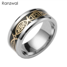 Ranzwal Christian JESUS Pattern Titanium Stainless Steel Rings for Men/Women Jewelry US SIZE 6~13 ARI192