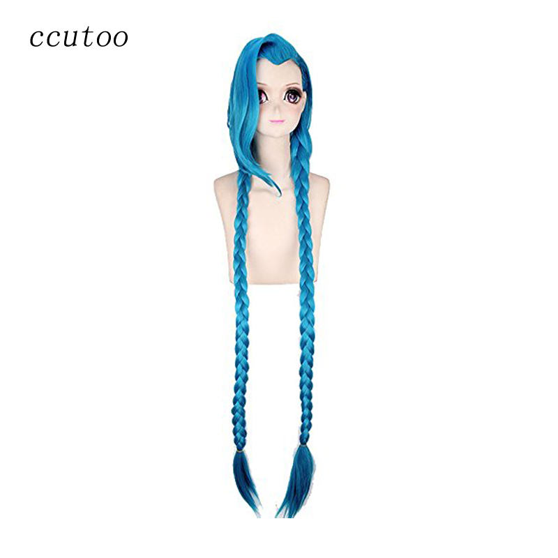 "ccutoo 47 ""/ 120cm Hembra Azul Largo Trenzas de pelo recto sintético LOL League of Legends Loose Cannon Jinx Cosplay Peluca"