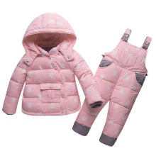 Children's Winter Clothing Set Boys Girls Duck Down Jacket+Pants Suit Thick Outerwear Coats Toddler Newborn Infant  Snow Wear