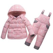 Children's Winter Clothing Set Boys Girls Duck Down Jacket+Pants Suit Thick Outerwear Coats Toddler Newborn Infant  Snow Wear