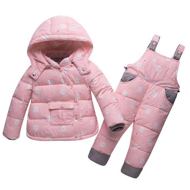 055548a76 Invierno de los niños ropa niños niñas chaqueta + pantalones traje abrigo  abrigos gruesos niño recién