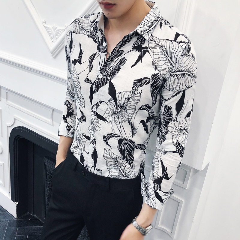 UUYUK Men Long Sleeve Vest Slim Turn Down Collar Floral Print Fake Two Pieces Button Down Blouse Shirt