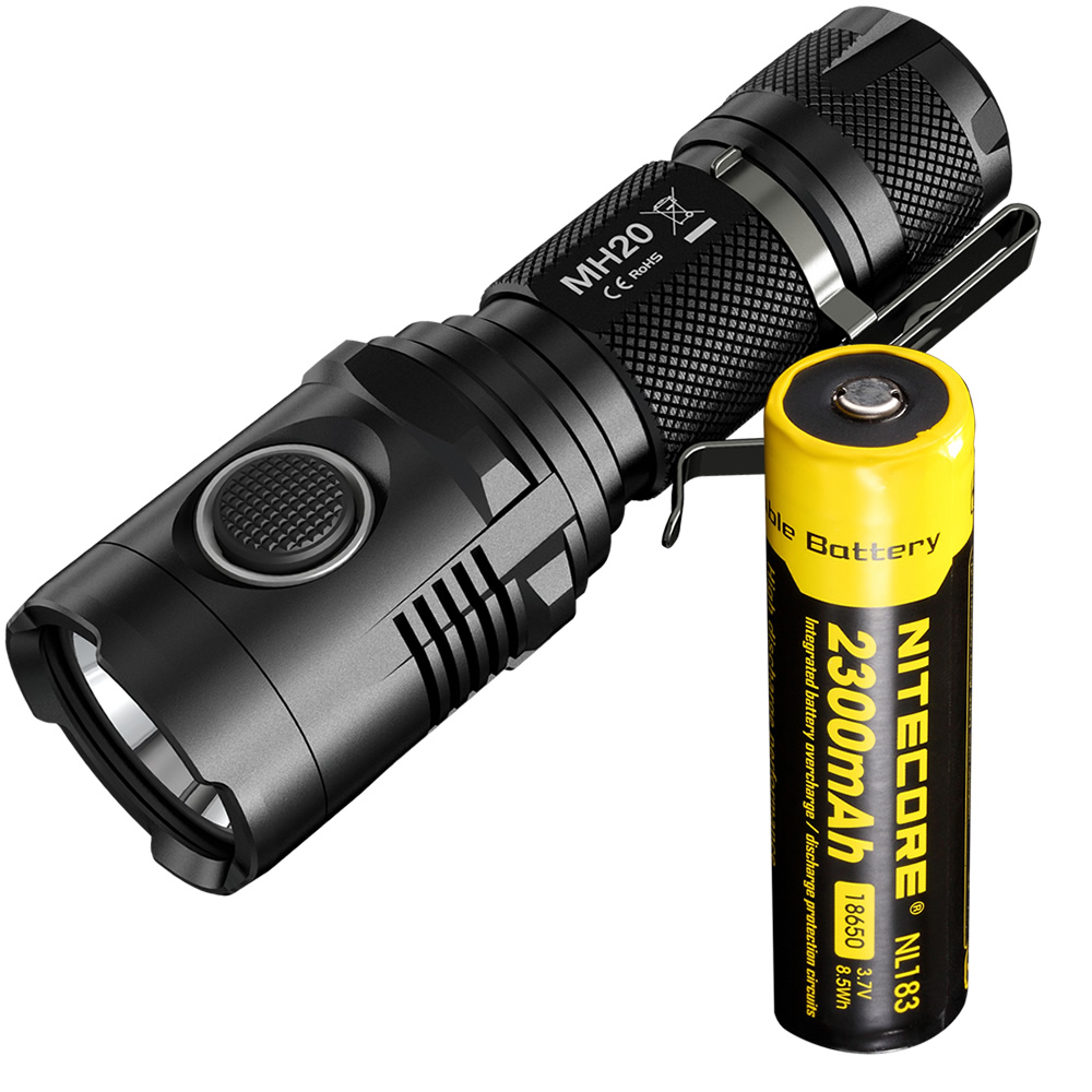 NITECORE 1000 Lumens CREE XM-L2 U2 LED Rechargeable MINI Flashlight MH20 with 2300mAh Battery Waterproof Led Torch+Free Shipping nitecore mt10c portable tactical flashlight cree xm l2 u2 led 920 lumens red light illumination waterproof with imr18350 battery