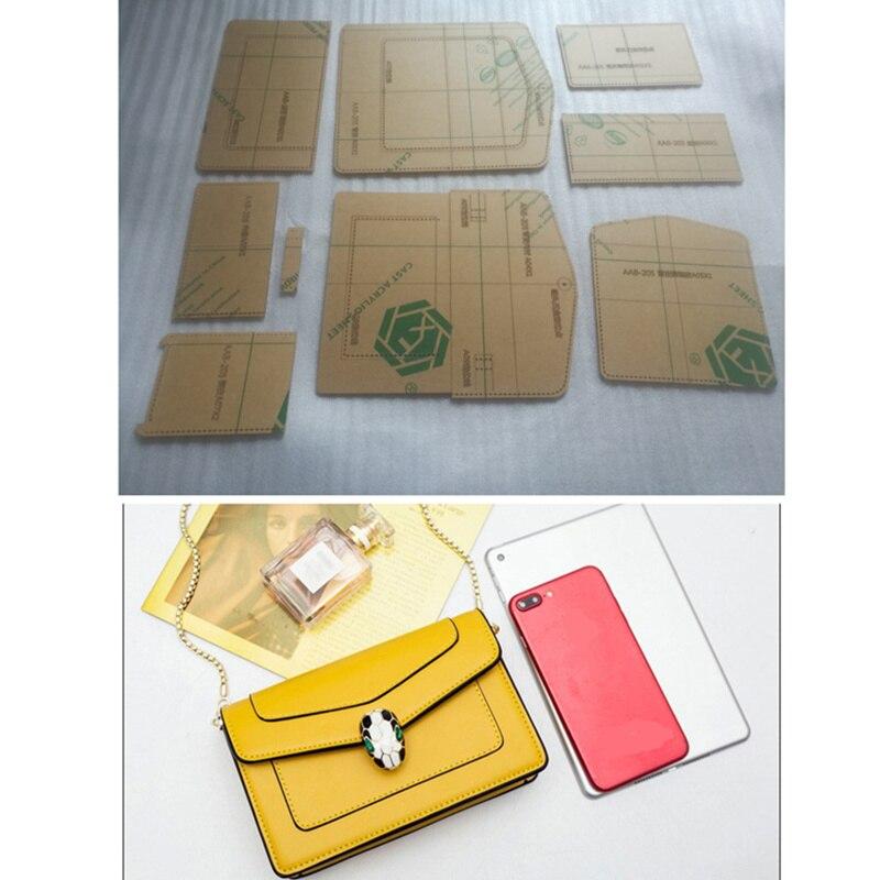 f2bcc0f9 1 Conjunto de plantilla de acrílico DIY patrón de hombro bolso de cuero  suave patrón de artesanía estilo Simple patrones de costura plantilla  19*11*6 cm