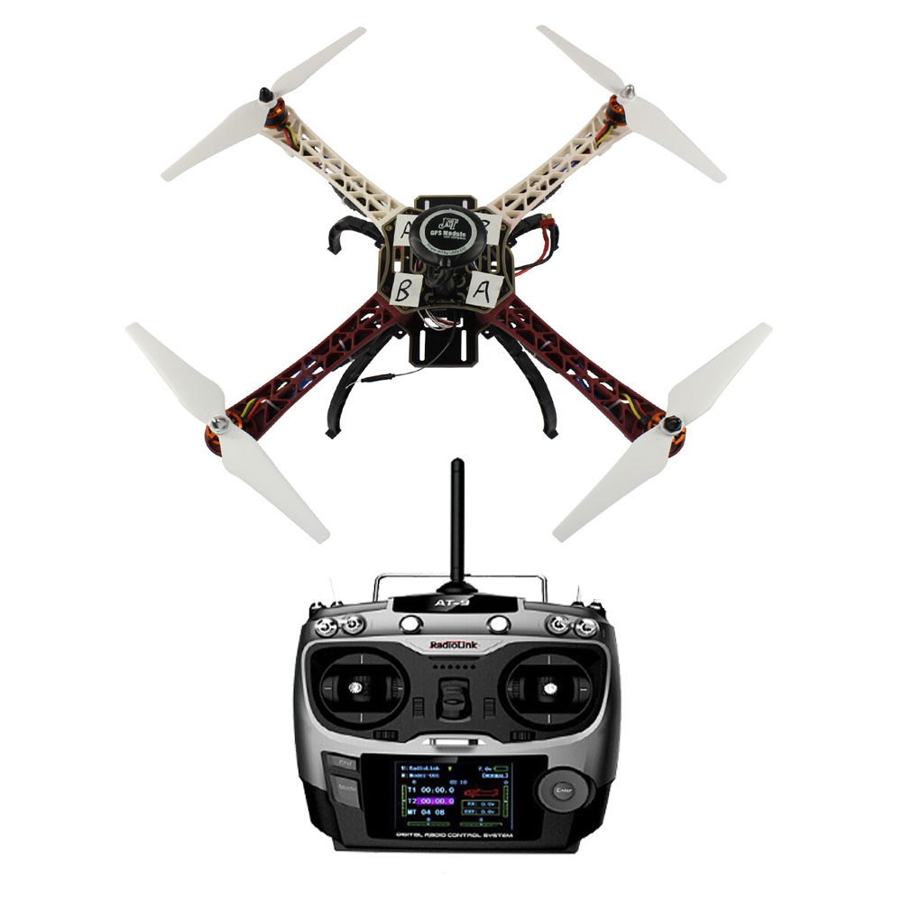 F02192-W JMT Assembled HJ 450 450F 4-Aix RFT Full Kit with APM 2.8 Flight Controller GPS Compass No Gimbal / Battery /Charger FS assembled cdrom controller kit with display remote control 0508 4