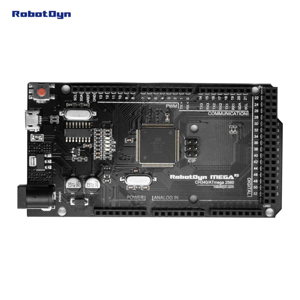 RobotDyn Mega 2560 R3 CH340G-ATmega2560-16AU, MicroUSB. Compatible For Arduino Mega 2560. With Bootloader.