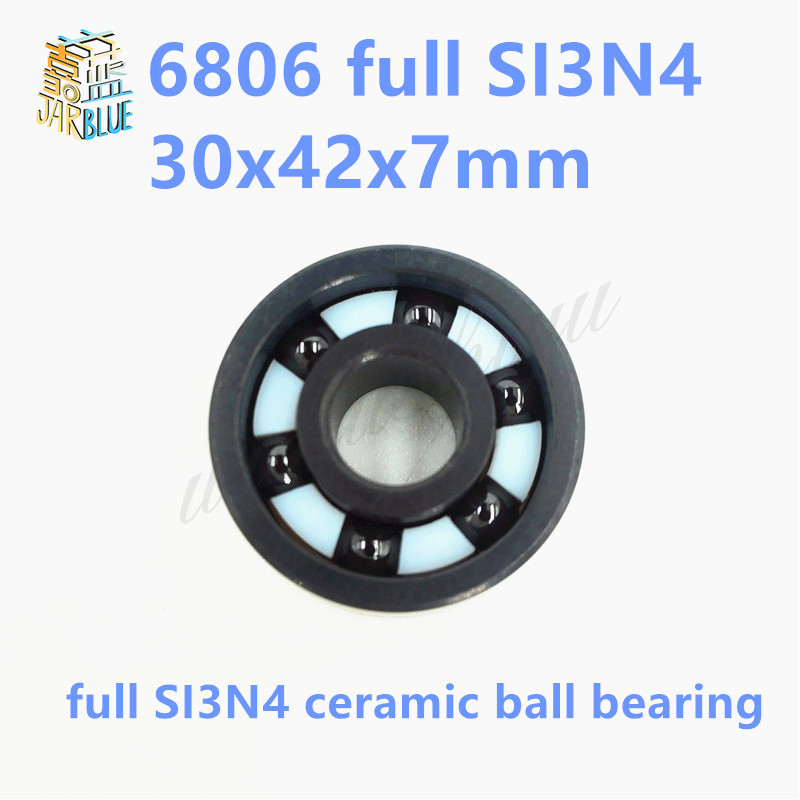 Free shipping 6806 full SI3N4 P5 ABEC5 ceramic deep groove ball bearing 30x42x7mm 61806 full complement free shipping 687 full si3n4 ceramic deep groove ball bearing 7x14x3 5mm p5 abec5