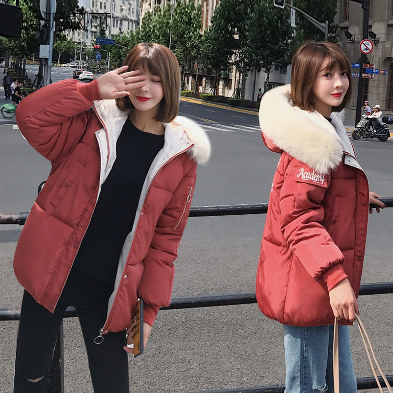 Womens Winter Women Parkas Jackets and Coats 2018 Solid Color Jackets Thick Warm Outwear with A Hood Large Faux Fur Collar