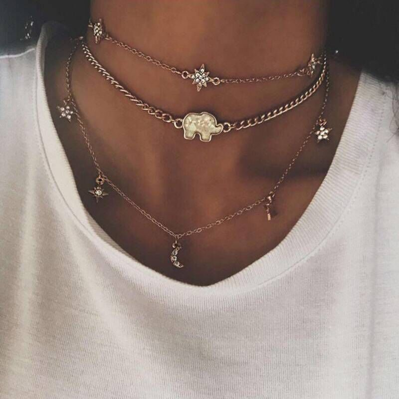 2020 summer 925 sterling 33+7cm choker short chain four cz connector charm delicate italy chain charm choker necklace jewelry