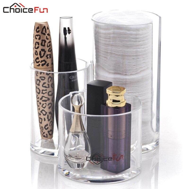 Organizer Makeup-Brush-Swab Waterproof-Dispenser Acrylic Cotton Pad-Holder Bathroom Plastic