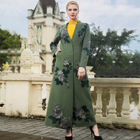 Womens Coats Winter Office lady Wool Long Coat British Style Long Coat Embroidery Lady Overcoat 6932