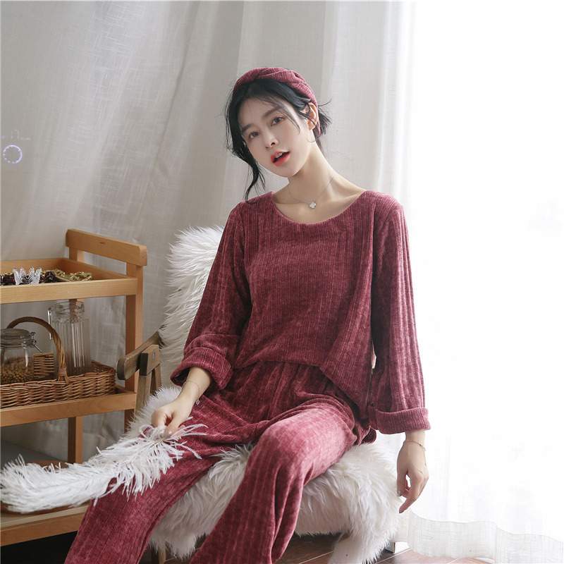 JULY'S SONG Woman Winter Flannel Pajamas Sets 2 Pieces Warm Pajamas Thick Sleepwear Woman Casual Homewear 42