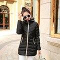 Mulheres plus Size Casaco de Algodão-acolchoado Mulheres Jaqueta de Inverno Parka Baixo Médio-longo Jacket Feminino Casual Com Capuz Senhoras casaco