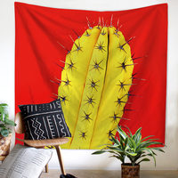 mandala Wall Hanging Cactus Tapestry Green Succulents 3D Flower Art Carpet Blanket Yoga Mat Decorative Tapestry for Home