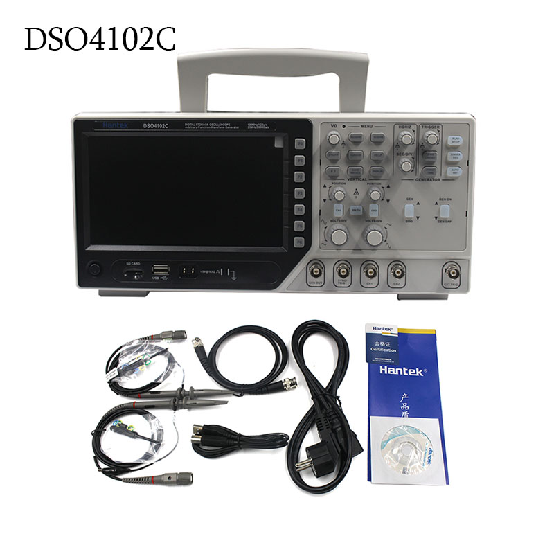 Hantek DSO4102C Multimetro Digitale Oscilloscopio USB 100 MHz 2 Canali 1GSa/s 7 Pollice Display LCD Palmare Osciloscopio