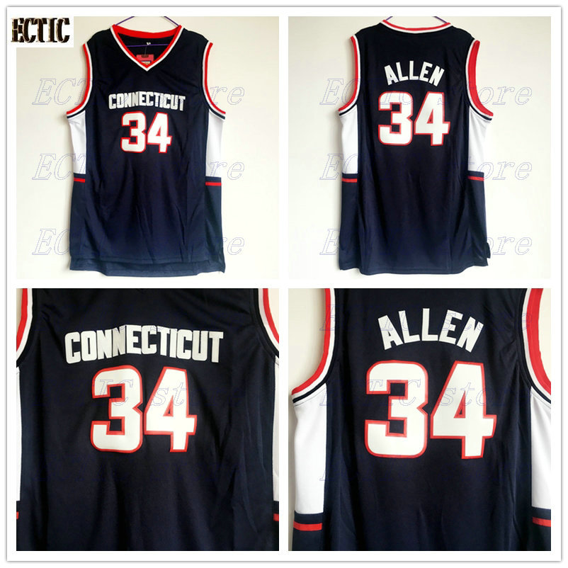 the best attitude 43732 bf221 2018 ECTIC Mens Throwback Basketball Jerseys #34 Ray Allen Jersey  Connecticut Huskies College Stitched Shirts Vintage Black-in Basketball  Jerseys from ...