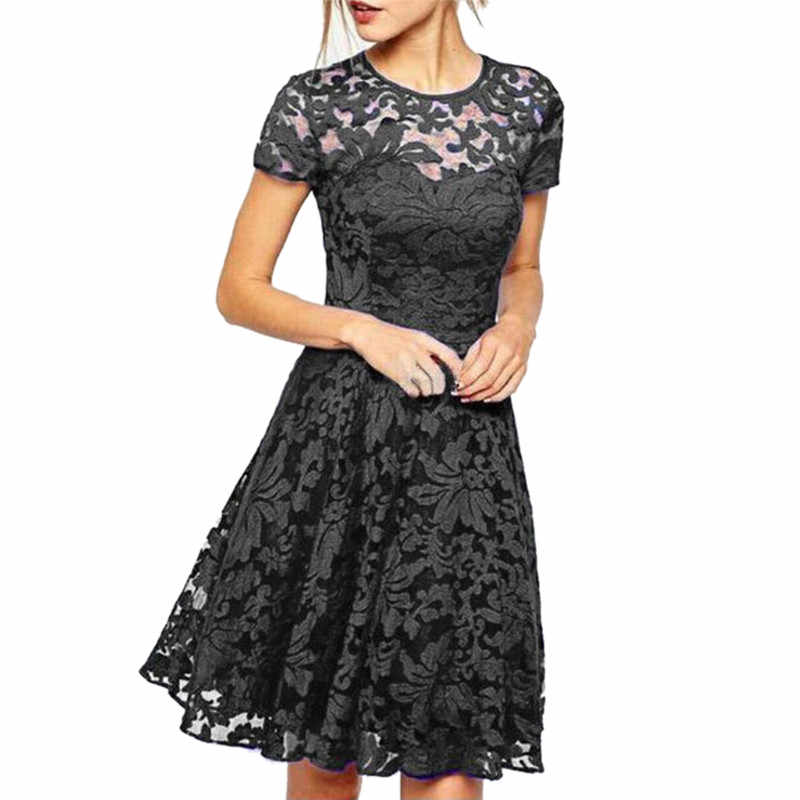 3abec28a92b Elegant Women Summer Hollow Out Lace Dress Sexy Party Dress Plus Size Short  Sleeve O Neck