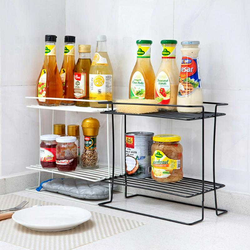 1PC Iron Double layer Condiment Rack Kitchen Accessories Storage Holder Home Multifunction Bathroom Floor Type Storage Rack in Storage Holders Racks from Home Garden