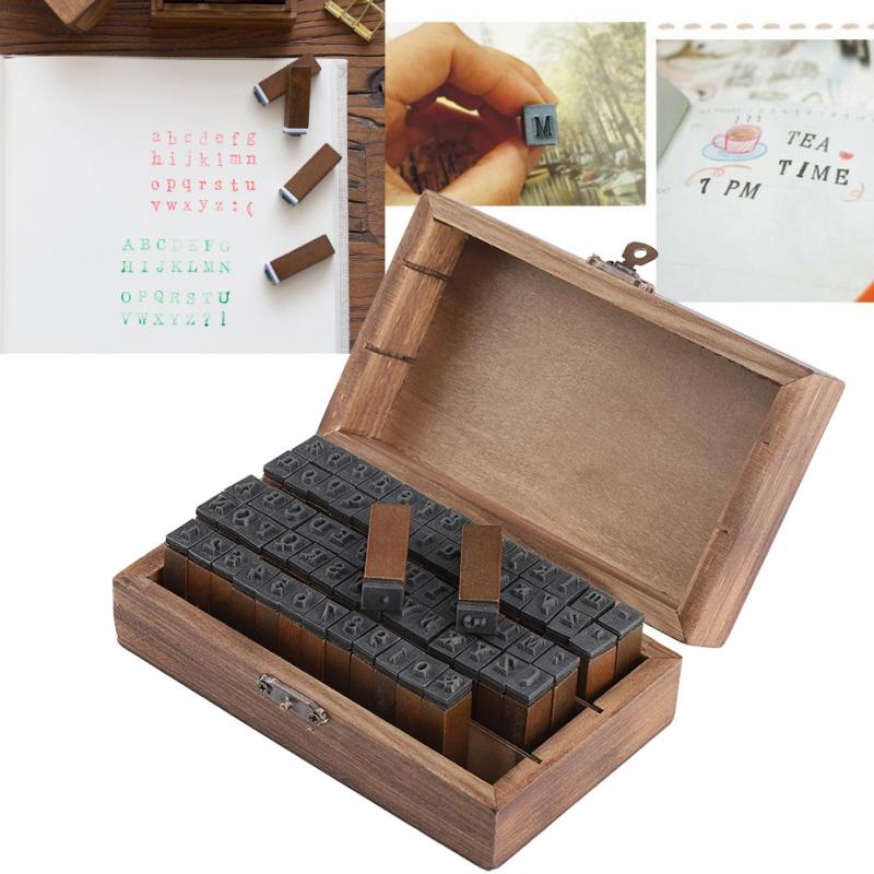 70PCS Vintage DIY Number And Alphabet Letter Wood Rubber Stamps Set With Wooden Box For Teaching Playing School Supplies