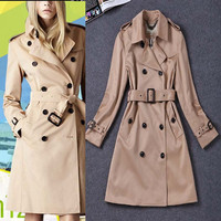 High Quality 2016 New Autumn Winter Women Trench Coat Turn Down Collar Double Breasted Belt Slim