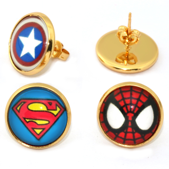 2017 Hot 14mm 4Pairs Heroes Stud Earring Superman, Captain America, Spiderman, batman Hero Bezel earrings for Women Men