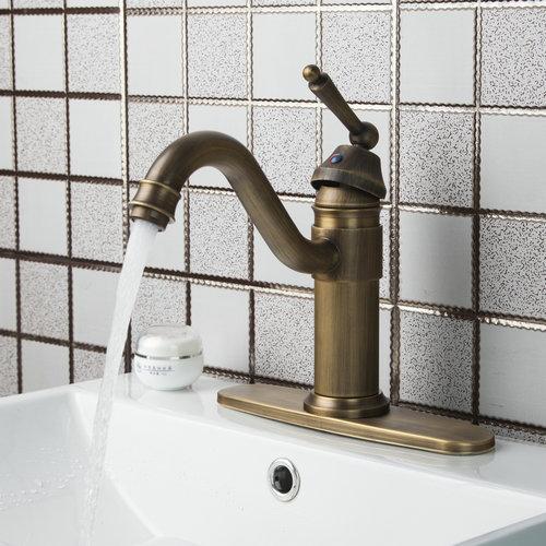 Swivel Antique Brass Double Handles Cover Plate Hot Cold Hose 86445726 Kitchen Torneiras Cozinha Basin Sink