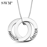 Costume Name Double Russian Circle Necklace Custom Two Letter Russia Circles Necklaces Sterling Silver 925 Collar Collana Female