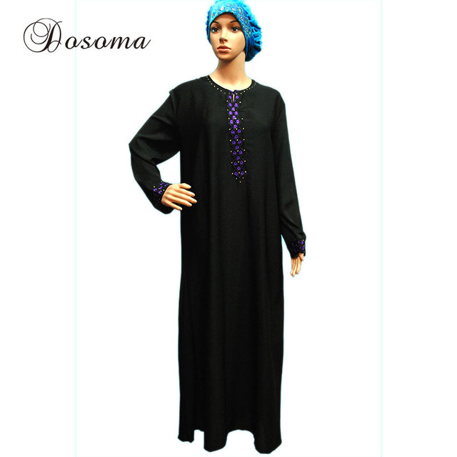Islamic Embroidery Maxi Dress Muslim Indian Women Abaya Vestidos Sleeve  Clothing Robe Kimono Turkey Kaftan Instant