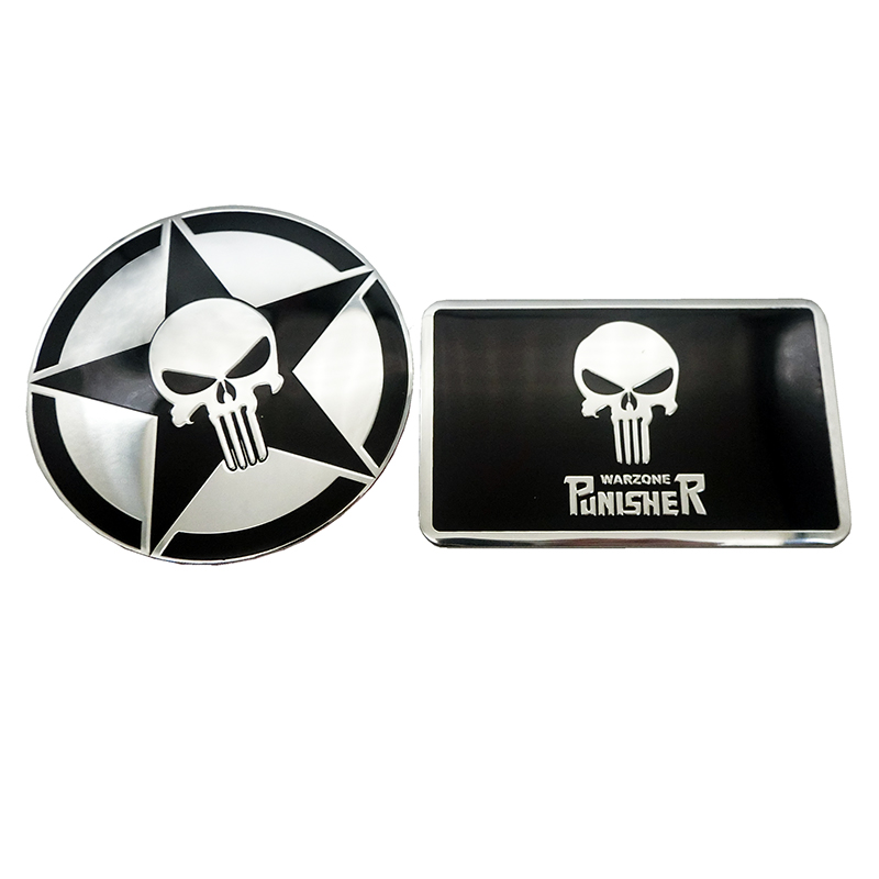 Car styling Aluminum THE Punisher skull Body Emblem Car Motorcycle 3D sticker Auto Skeleton Rear Badge Stickers Decals black in Car Stickers from Automobiles Motorcycles