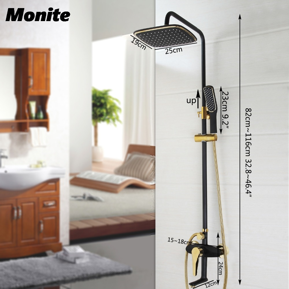 Black Gold-plated Wall Mounted Bath Shower Set Faucet Rotation Shower Head Water Saving High Pressure Shower Set bathroom shower faucet set brass orb wall mounted shower faucet 8 shower head water saving high pressure shower set