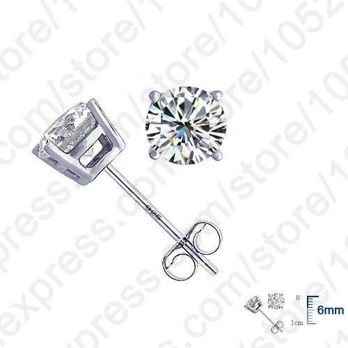 Hot High Quality Jewelry Real Pure 925 Sterling Silver  Women Accessories Cubic Zirconia CZ 4 Claws Stud Earrings 8 Colors