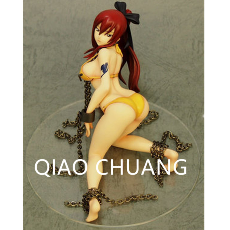 Anime Sexy Figures FAIRY TAIL Magic Shooter Erza Scarlet Fairy Queen Swimsuit Kneeling Position PVC Action Figure Toy G828