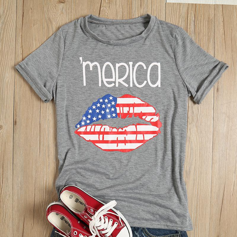 Women's T-shirts Summer Merica American Flag Lip Printed Short Sleeves O-Neck Female Tees Top Casual Fitness Simple Fashion Chic
