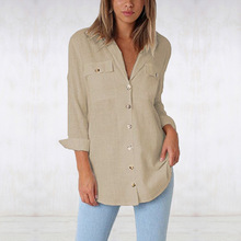 chic women blouse costume female ladies solid button new womens pockets top shirt