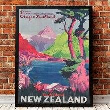 Póster de viaje Vintage de Nueva Zelanda con impresiones, imagen de viaje de Isla del Sur, lienzo colorido, pintura para sala de estar, Arte de la pared Decoración para el hogar