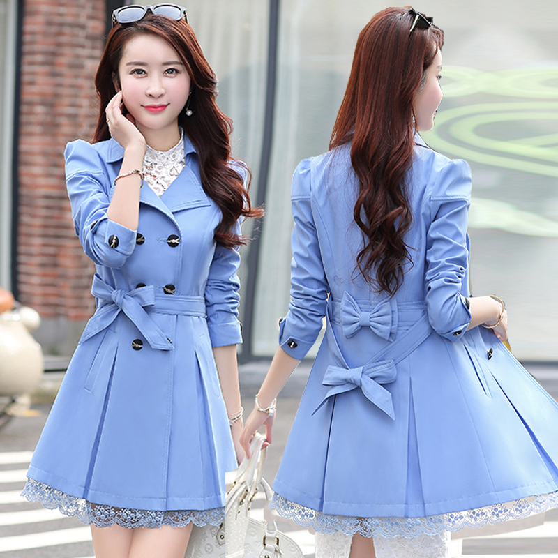 Women Windbreaker Spring Fashion Suit Collar Double-Breasted Belt Stitching Lace Side Slim Coat Female Autumn Wild Windbreaker