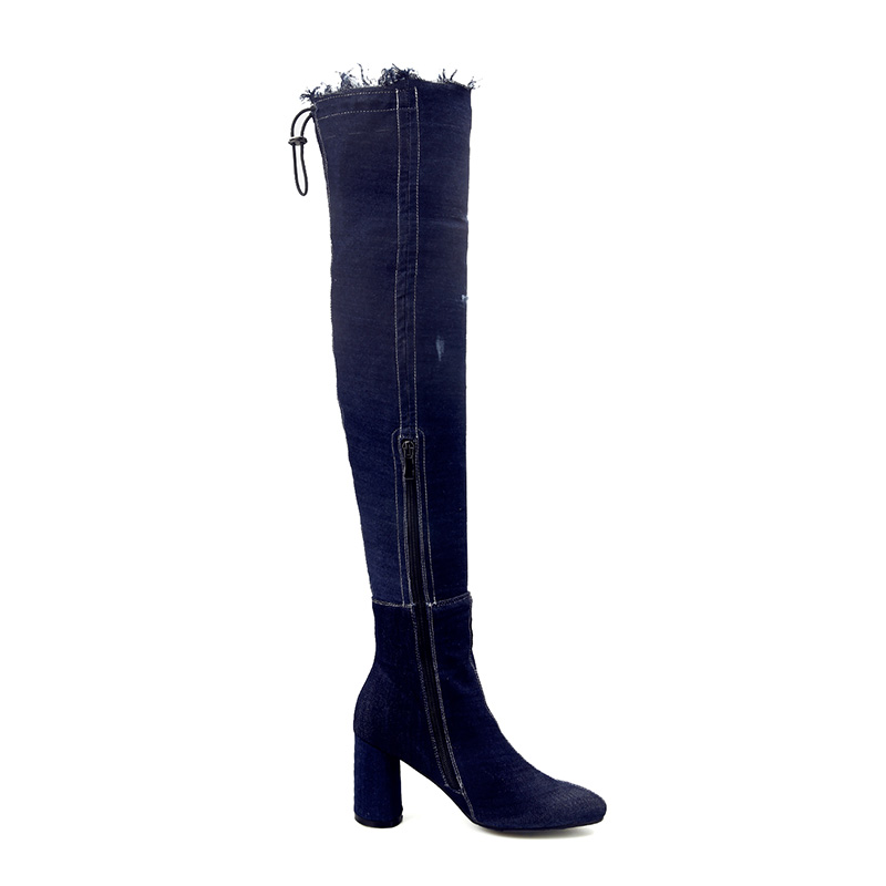 Over Denim the azzurro blu Boots strappati Ladies alti tacchi donna Knee Plus Winter profondo scarpe Hot 2018 Knees On Size Zipper PX4w7