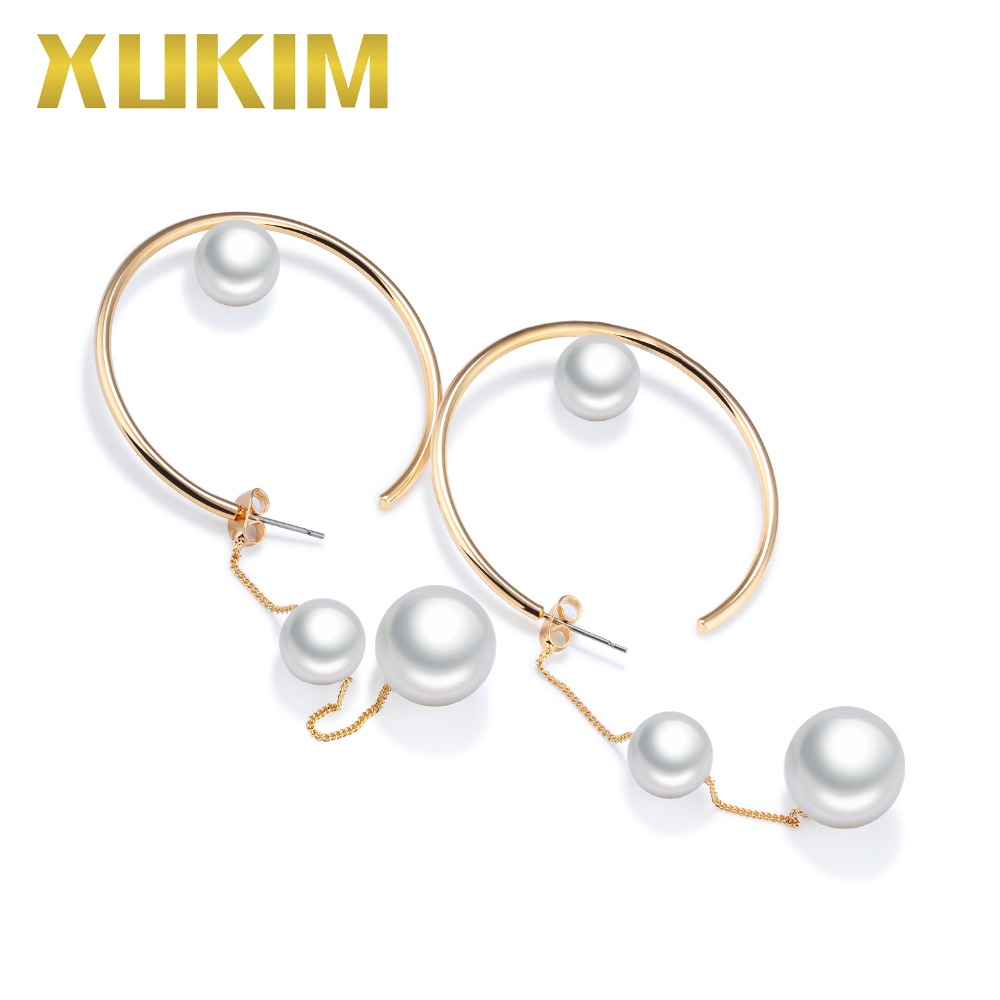 Xukim Jewelry Vintage Trendy Gold Color Simulated Pearl Drop Earrings Hoop for Women Lady Gift Accessories