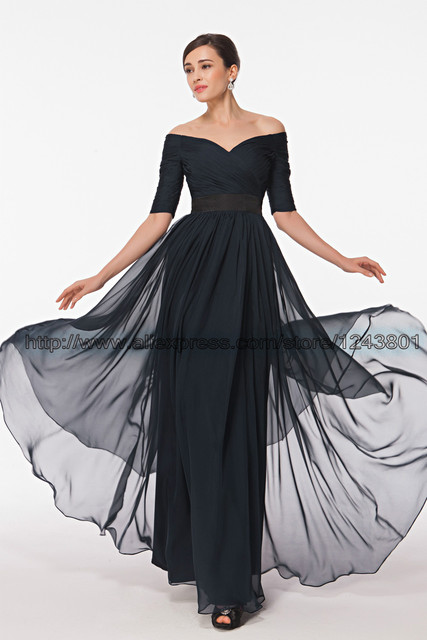 548e5252712d Modest Half Sleeves Chiffon Prom Dresses Off the Shoulder Night Blue Formal  Dresses Long Mother of the bride dress