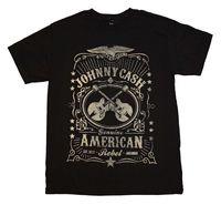 גברים של ג 'וני מזומנים תווית שחורה חולצה באופן רשמי ברישיון חדש אופנה חדשה חולצות גברים קיץ חולצות הנוודים Men'S T