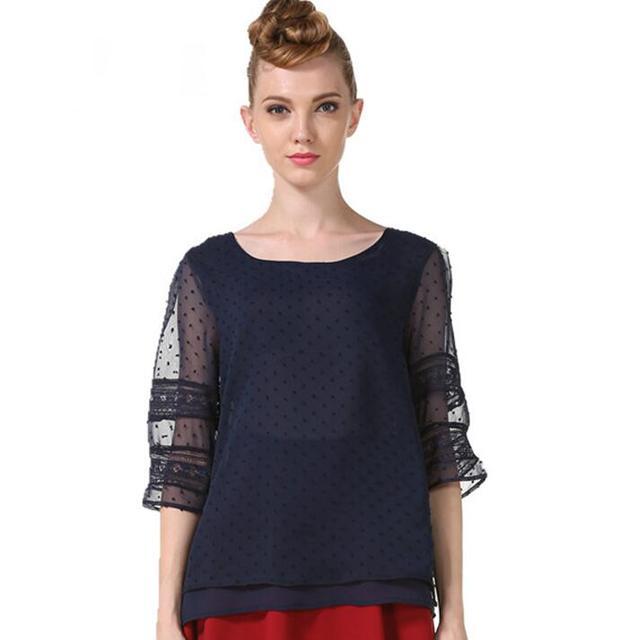 Summer Chiffon blouse women Hollow Half sleeve shirt Plus Size Casual ladies Tops shirt women blusas blusa feminina S-5XL 4