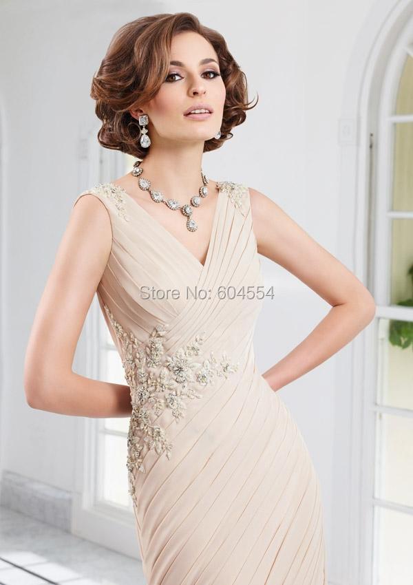 Vestido Mae Da Noiva Custom Made Light Champagne Chiffon Pleat Beading Crystal Long Mother of the Bride Dresses Evening Dress