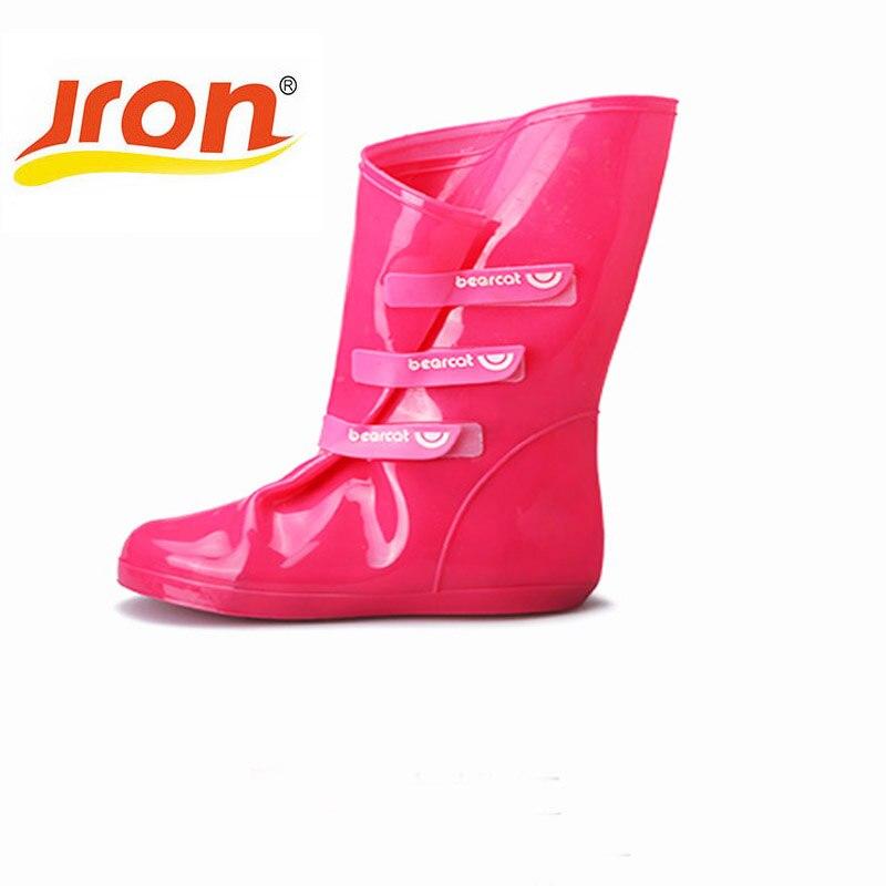 Nueva moda de Color sólido mujeres zapatos de goma cubre resistencia al deslizamiento impermeable espesar tacón de lluvia Zapatos para mujer de alta calidad