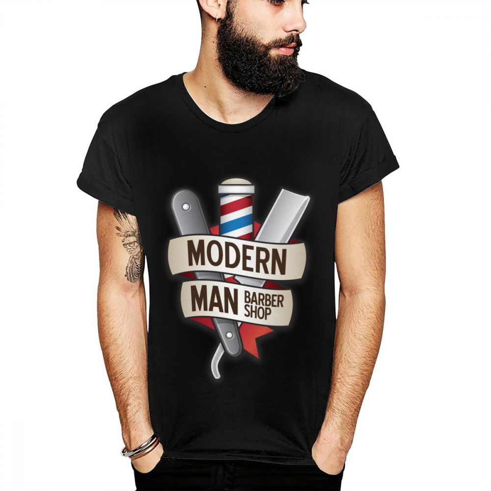 Barber Shop Daily Specials Straight Razor Modern Man Hairstyle <font><b>Shaving</b></font> T <font><b>Shirt</b></font> Picture Print Classic Round Collar Top Tee <font><b>Shirt</b></font> image