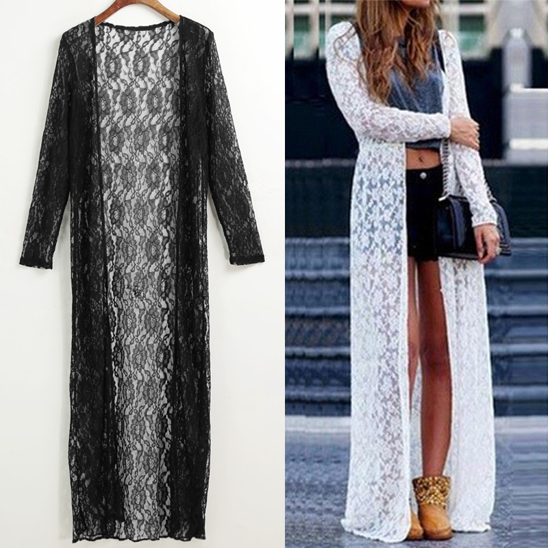 2020 Summer Swimwear Women Floral Lace Kimono Semi Sheer Beach Cover Up 5XL Plus Size Beach Dress Open Front Long Cardigan Tops