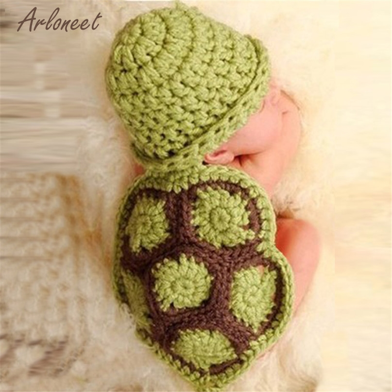 TELOTUNY Modern 2017 Baby Girl Boy Newborn Turtle Knit Crochet Clothes Beanie Hat Outfit Photo Props bb drop shipped Mr06